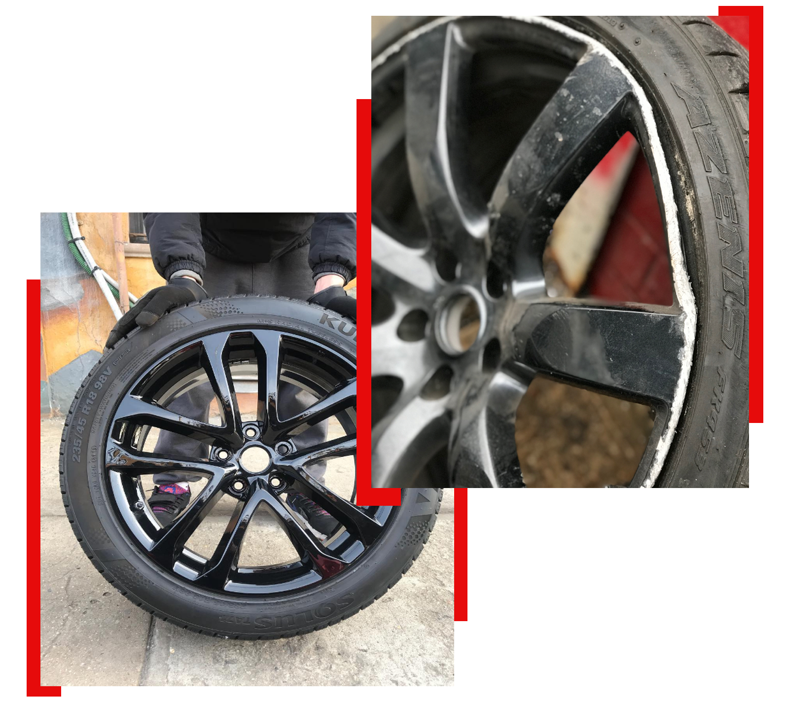 Wheel repair before and after
